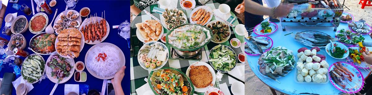 Bữa trưa tại nhà hàng của Cù Lao Xanh Homestay